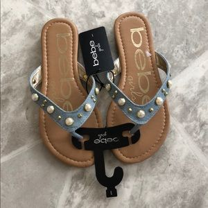 NWT BEBE girls studded beaded jean sandals SZ 1